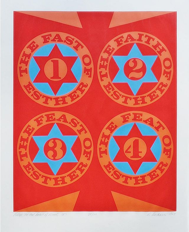 """Happy Purim! We're getting artsy and really loving Robert Indiana's Purim: The Four Facets of Esther  The color screen print on white wove paper was commissioned in an edition of 90 by the @thejewishmuseum in 1967 for its Purim fundraising ball.  From the Jewish Museum's website: Robert Indiana was closely associated with the hard- edged painting and Pop art movements. Using the formal vocabulary of advertisements, his work often explores the power of words and numbers. Here, he represents Stars of David and elements of the biblical story of Esther, who was queen of Persia in the fifth century BCE. She saved her fellow Jews from destruction, the """"feat"""" to which Indiana refers in this print. . . . . . . . #jewishdesign #judaicadesign #jewish #judiasm #modernart #moderndesign #designinspo #designdaily #designoftheday #designlovers #designaddict #JewishTradition #JewishRitual #JewishSymbols #Judaica #JudaicaArt #JewishArt #JewishPride #Birthright #ModernJudaica #JewishCulture #JewsOfInstagram #JewishWedding #purim #shero #queenesther #robertindiana #popart #popartist"""