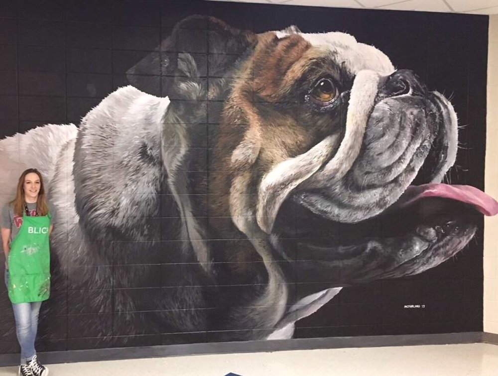 Jodi and the Bulldog Mural. This mural was completed at Marbury High School in Deatsville, Alabama.