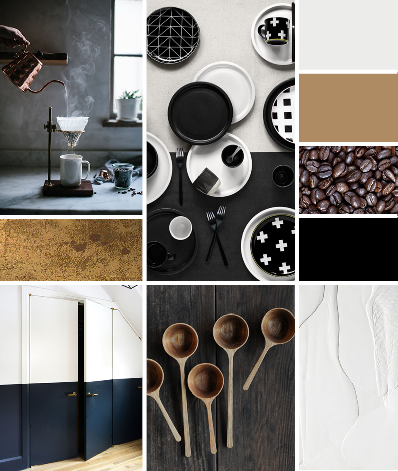 Concept Board - Mood: dreamy, dark moods, steamy, rich, earthyPalette: various shades of neutral tones from deep, warm browns to creamy whites and from navy blues to details in gold. Also include various textures – hard, soft, matte, glossy, smooth, etc to give the neutrals depth and diverse shades of color.Images: 1 / 2 / 3 / 4 / 5 / 6 / 7