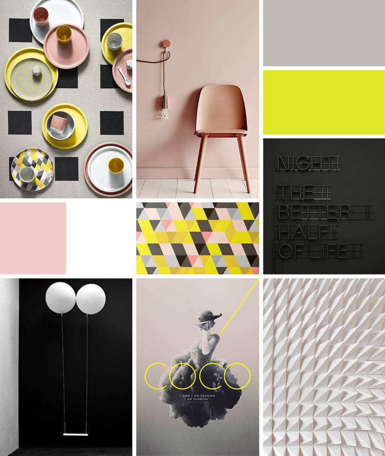 Color blocked - Mood: modernist, moody, imganiative, saturated, whimsical, playful, texturalPalette: Bold blocks of white and black. Accents of pink and citron/neon yellow. Triangles and pyramid patterns.Images: 1 / 2 / 3 / 4 / 5 / 6 / 7