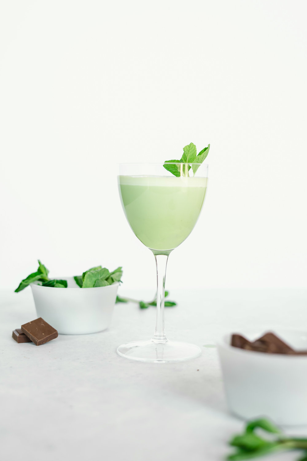 Matcha Grasshopper - 1 oz vodka (I was feeling festive and tried coconut vodka 🥥)1 oz creme de cacao1 oz peppermint liqueur1.5 oz half n half 1/2 tsp powdered matchaTo Make: Throw it all in a shaker with ice. Shake vigoursly because the Matcha wants to separate. Strain into your favorite coupe style glass. Garnish with mint plus a sprinkle of matcha or shavings of chocolate. Dealer's choice.