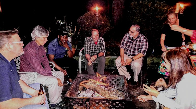 Fall Cookout, Nov 3, 2017 - Left to Right: Neighbors Patrick Holmes, Mike Pusateri, Father Urey Mark, Chris Harvey, Constantine Kokenes