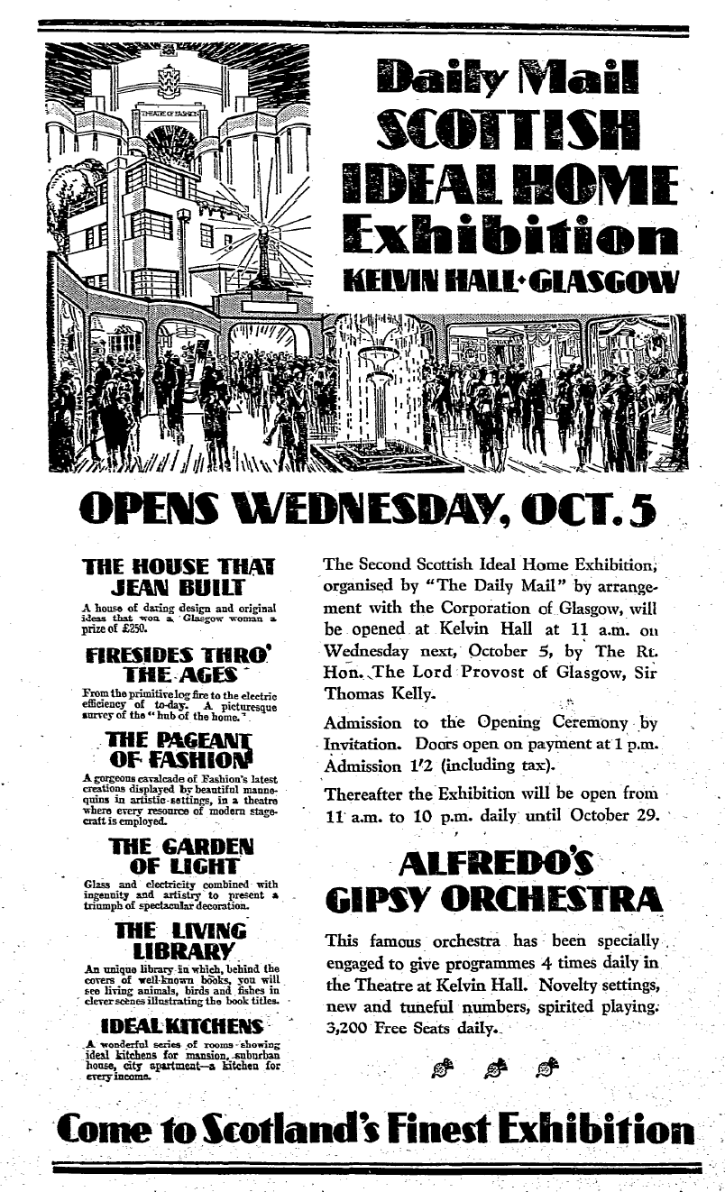 Advertisement in the Scotsman - 1st October 1932