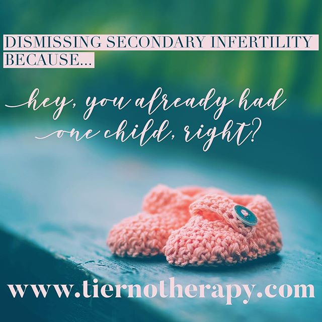 """Do you know about #secondaryinfertility ? This is a painful reality for many people desiring to add to their existing family, where #fertility issues arise despite there having been at least one successful prior pregnancy. All too often, the pain of this experience is minimized with an infamous """"well, at least you..."""" comment that is truly the antithesis of #empathy. Click the link in my bio to read my latest blog about a few ways to cope when people respond this way to your grief. ・・・ #fertilityjourney #ivfjourney #ivf #ivfsuccess #ivfsupport #ivfcommunity #ttc #ttccommunity #ttcjourney #iui #iuisuccess #iuijourney  #gaydads #lesbianmoms #lgbtq #lgbtqfamily #transparents #surrogacy #therapy #psychotherapy #psychology #louisvilleco #louisvillecolorado #boulder #bouldercolorado #bouldercounty"""