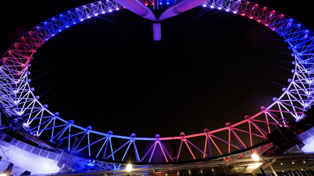 The multi coloured ever changing London eye