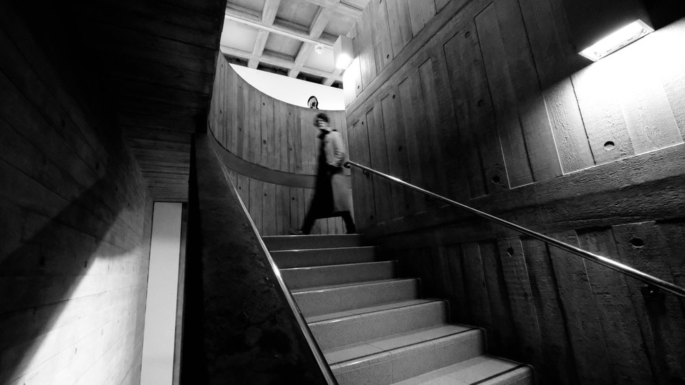 The brutalist stairway, there are a few floors and there are lifts available and its wheelchair/buggy friendly, the staff always friendly and the luxury to browse at your leisure