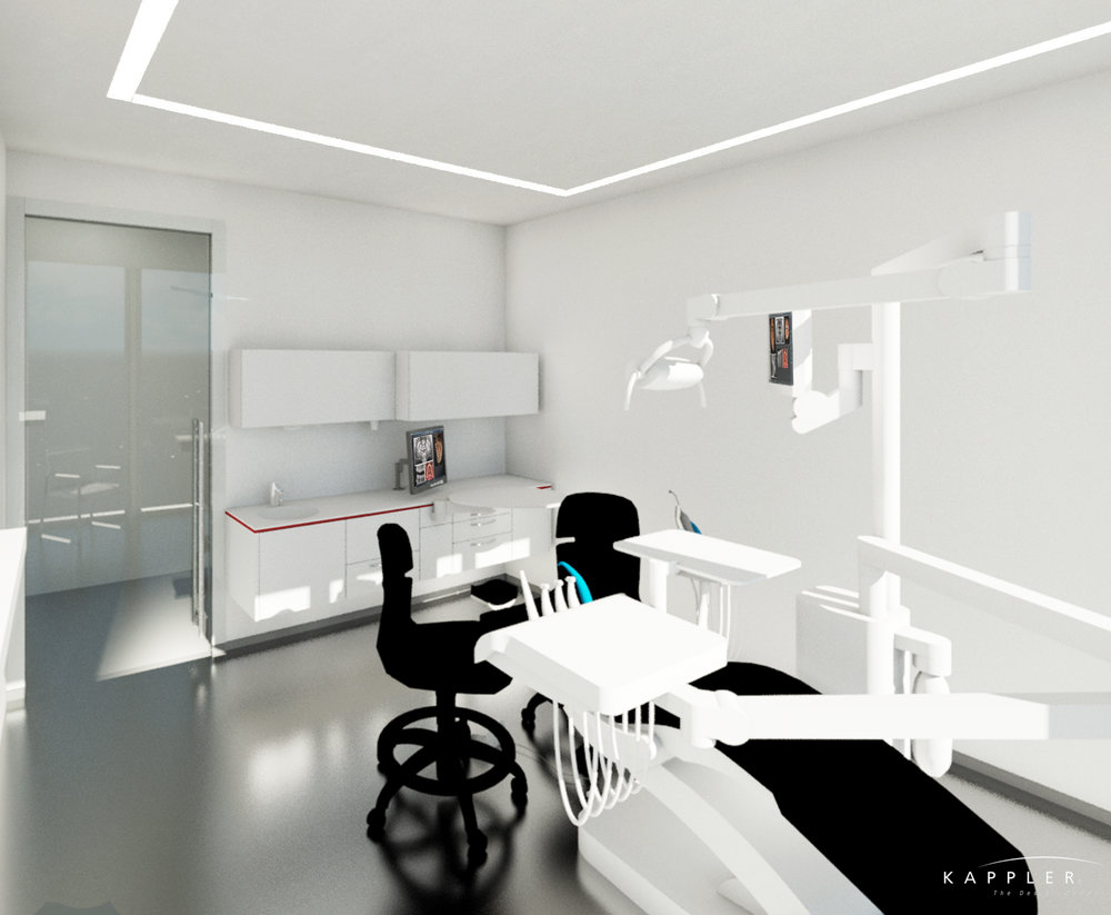 minimalist dental operating room in white with black accents