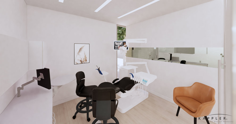 nordic inspired design dental operating room in white with black accents