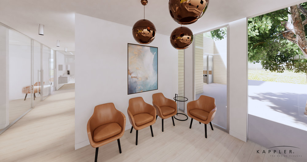 Nordic design waiting room in dental office with bronze accents