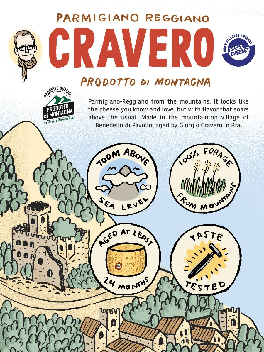 Parmigiano ReggianoProdotto di MontagnaExplanation  - What is Prodotto di Montagna? This 6 x 8 inch postcard quickly explains Italy's special designation for mountain Parmigiano. Download it to pin behind your counter as a reminder. Place it next to Cravero cheese so customers can sort out the mystery for themselves.