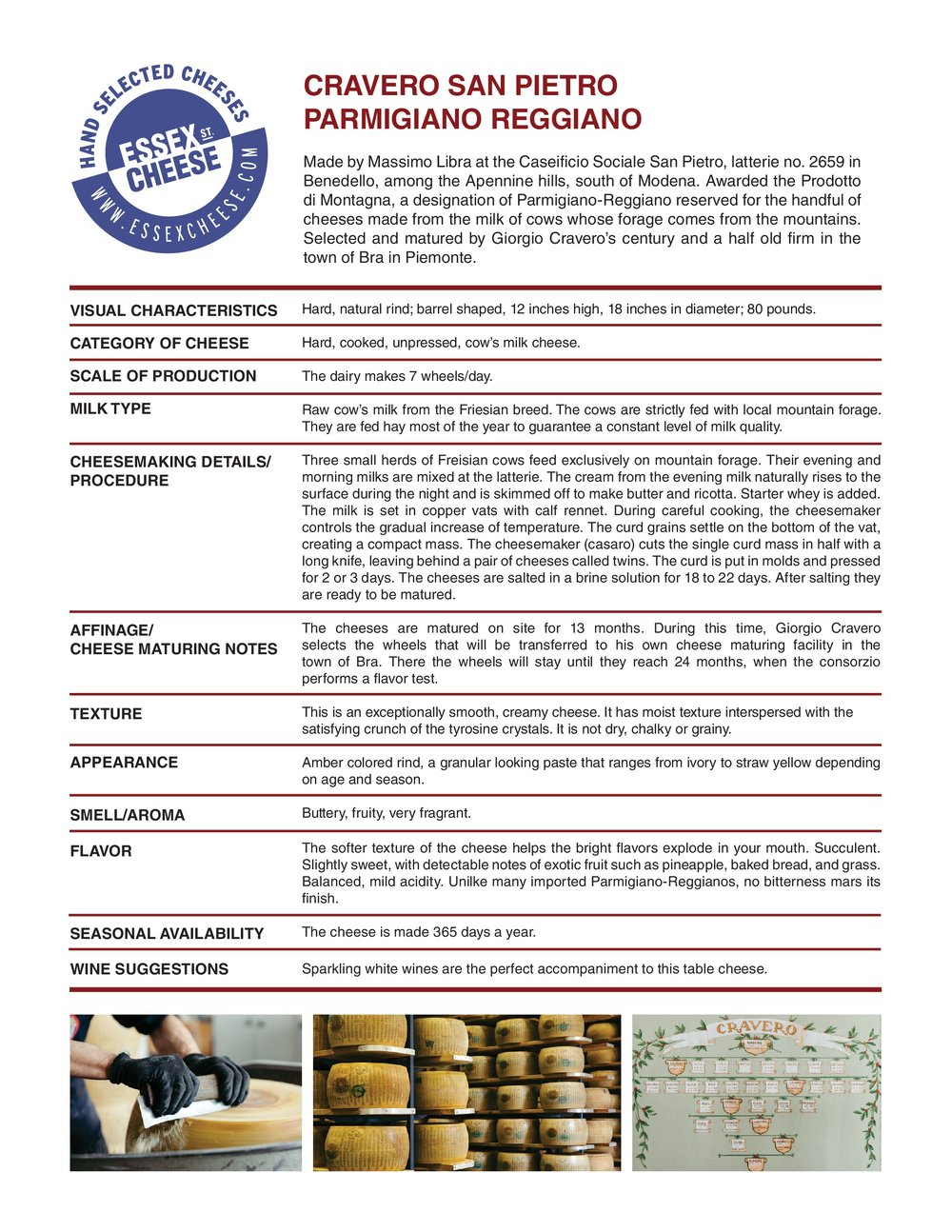 Cravero Parmigiano ReggianoSan Pietro Specifications - Details on Giorgio Cravero's Parmigiano Reggiano from San Pietro. 8.5 x 11 inch PDF to download and print for training and reference.