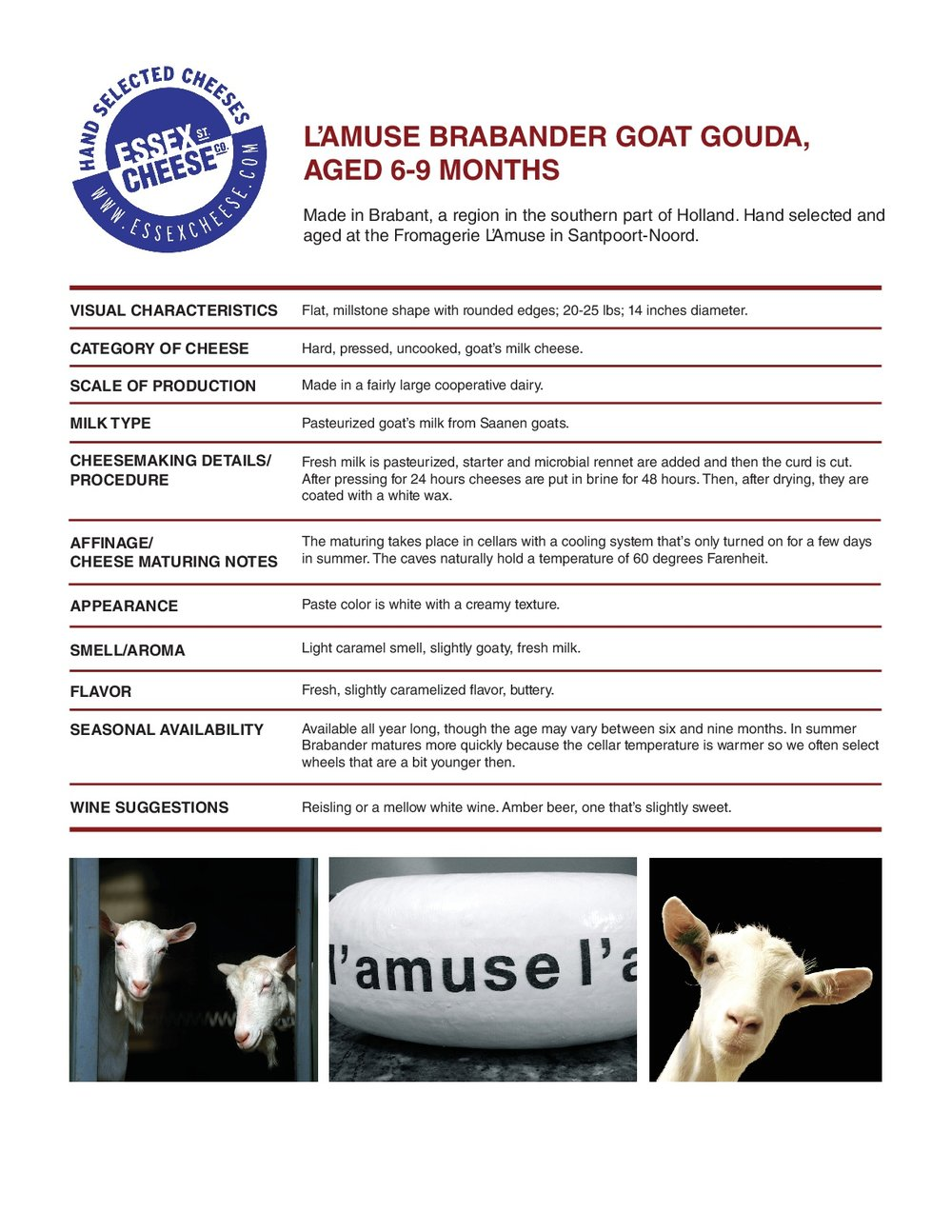 BrabanderGoat Gouda Specifications - The gouda that's as tasty as a milk shake. 8.5 x 11 inch PDF to download and print for training and reference.
