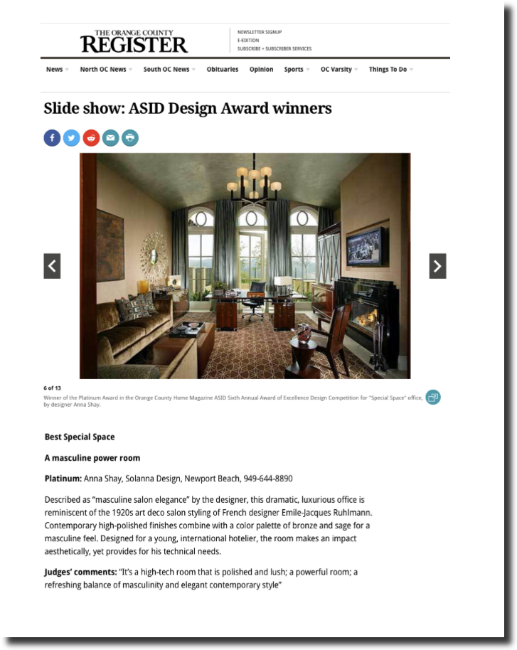 "ASID Awards ""Best Special Space"" - Orange County Register"