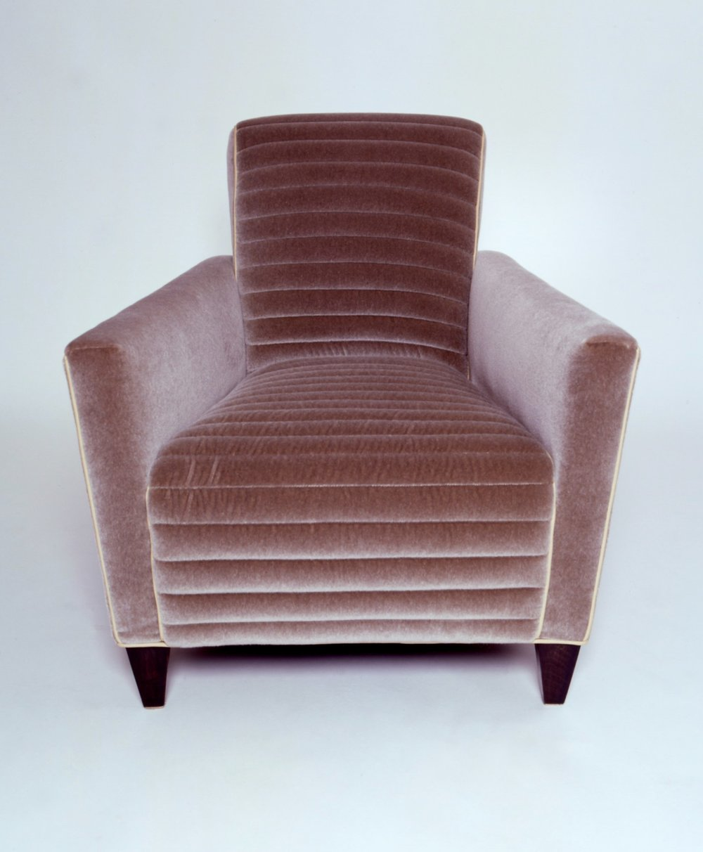 Channel Stitched Contemporary Mohair Chair