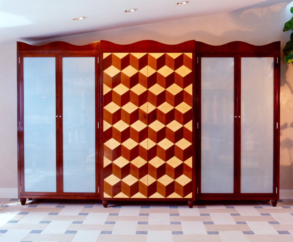 "Large Scale ""Escher"" Tumbling Blocks Cabinet"