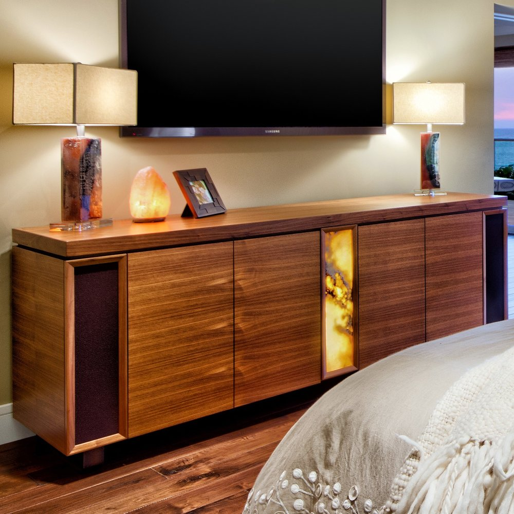 Back-lit Walnut & Onyx Dresser