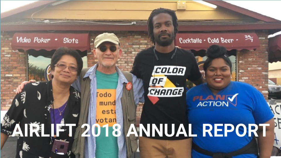 Feet on the Street! Airlift founder Danny Altman with our partners at an early voting event in Las Vegas. Pictured: Vida Benavides, Win Justice, Danny Altman, Airlift, Reggie Harris, Color of Change, Amanda Khan, PLAN Action Fund.