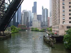 The Chicago River, seen from the Kinzie Street Bridge
