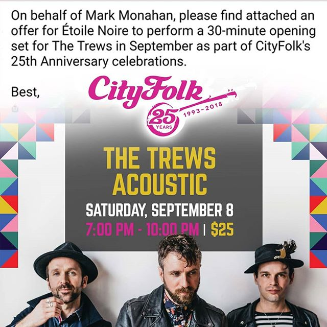 Gig alert ! This coming Saturday! @cityfolkfest @thetrews .  #openingset #cityfolkfest2018 #25thanniversary #acousticduos #acoustictrio #churchacoustics #thetrews #canadianartists #canadianrocklegends #candadianmusic