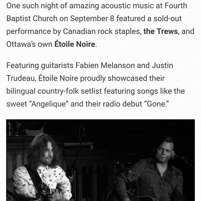 Big thx to @canadianbeats for the fine review of our show for the 25th Anniversary of @cityfolkfest . Theese kind of evenings are truly what keeps us for coming back for more !  Next show alert : @blacksheep_inn Oct 19th with Chas Guay, Nick Gauthier and @shawneroo . Get your tickets now on the blacksheep inn website or Dm us ❤❤❤
