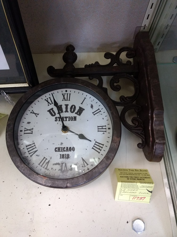 2 Sided Railroad Clock   SOLD January 2019 for $140