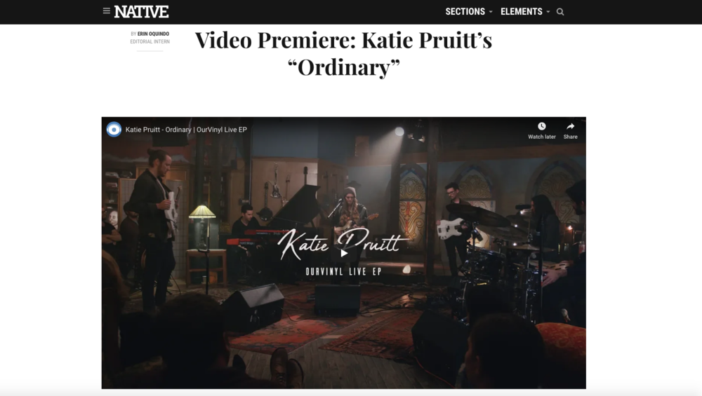"Native Magazine Exclusive Premiere for ""Ordinary"""