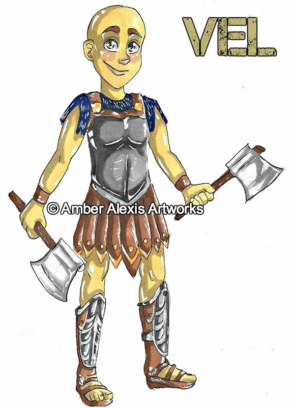 Vel Cimber - Vel is a Derian from the Valley of Delah. He has something to prove.Strengths: Good listener. Fighter.Weaknesses: Fearful.Weapon of Choice: Double Battle Axe