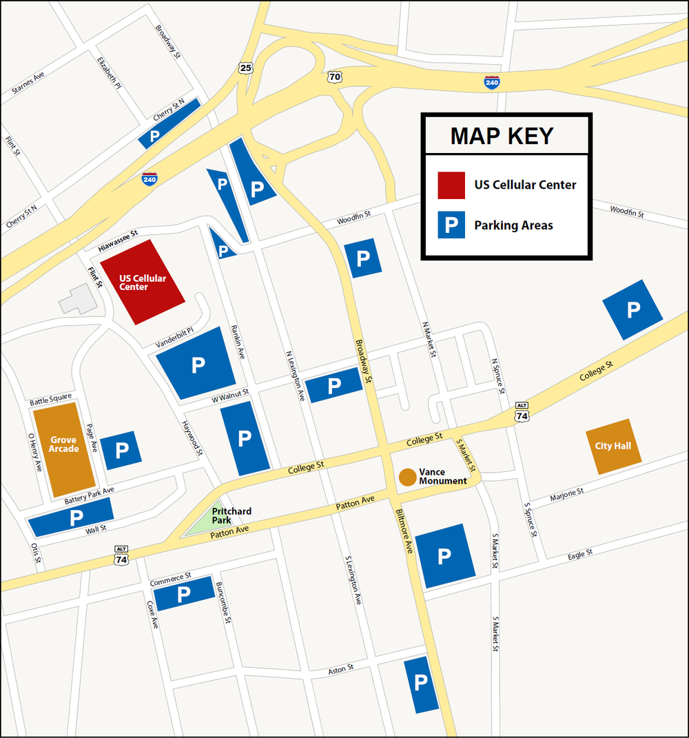 PArking map: https://www.uscellularcenterasheville.com/guest-info/parking-info/