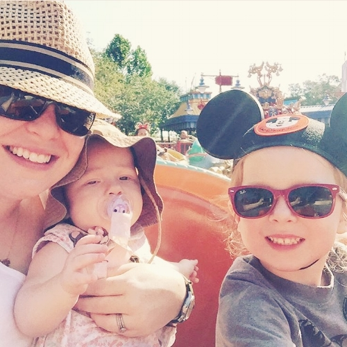 Courtney flying solo with two children (and a STROLLER) in Disney....