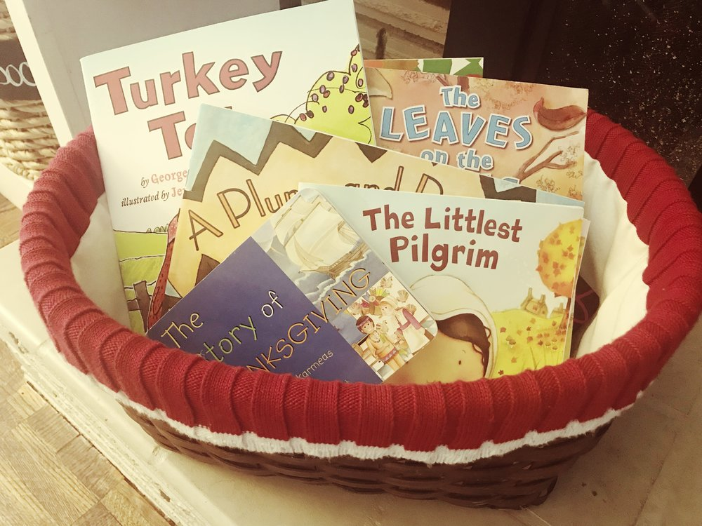 Courtney's Seasonal Book Basket - that's one of the books she mentioned on top!