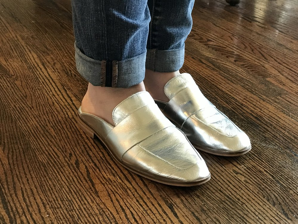 Lane's super cute metallic slides we talked about!
