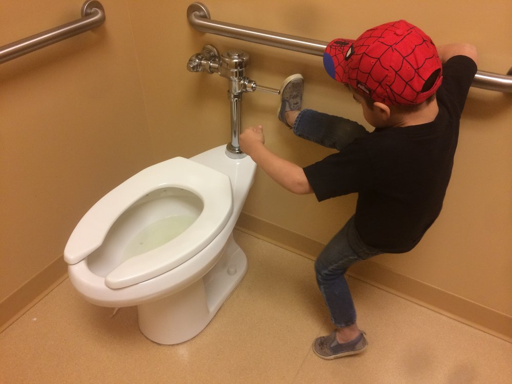 Here is the picture Jennifer mentioned of Thad flushing like a boss! Haha!