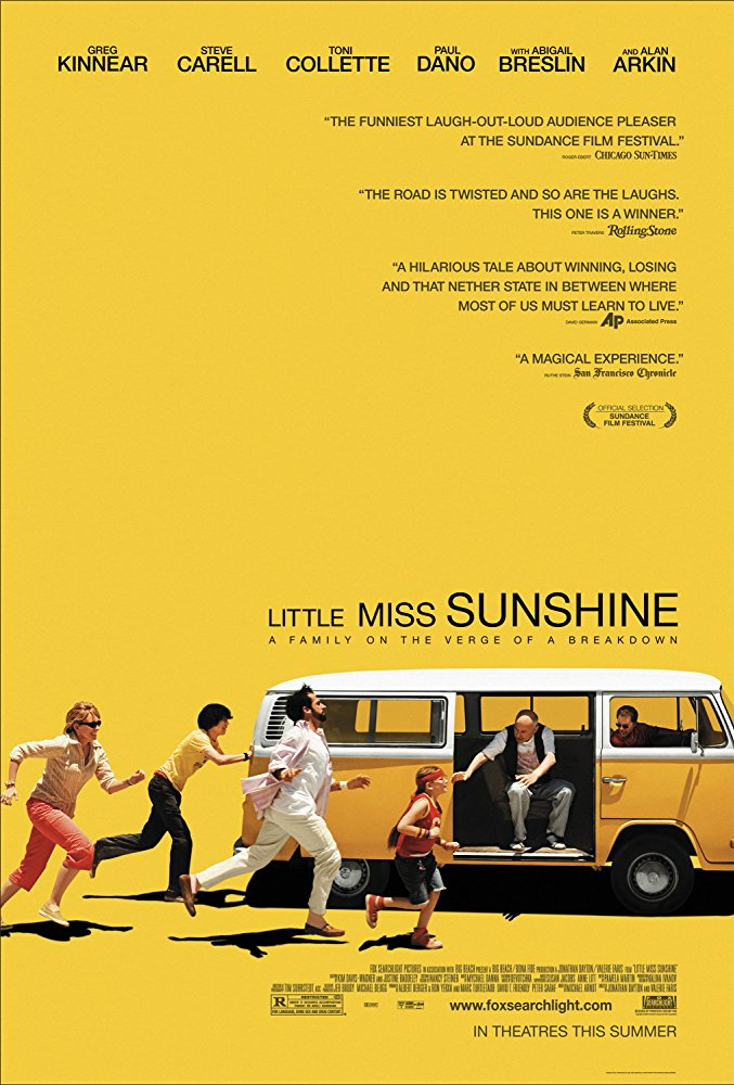 2. Little Miss Sunshine - A dysfunctional family piles into a VW bus and heads to California to support their daughter (Abigail Breslin) in her Little Miss Sunshine Contest.
