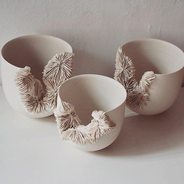 T A L L / collapsed porcelain bowls. . By @oliviawalker_ceramics