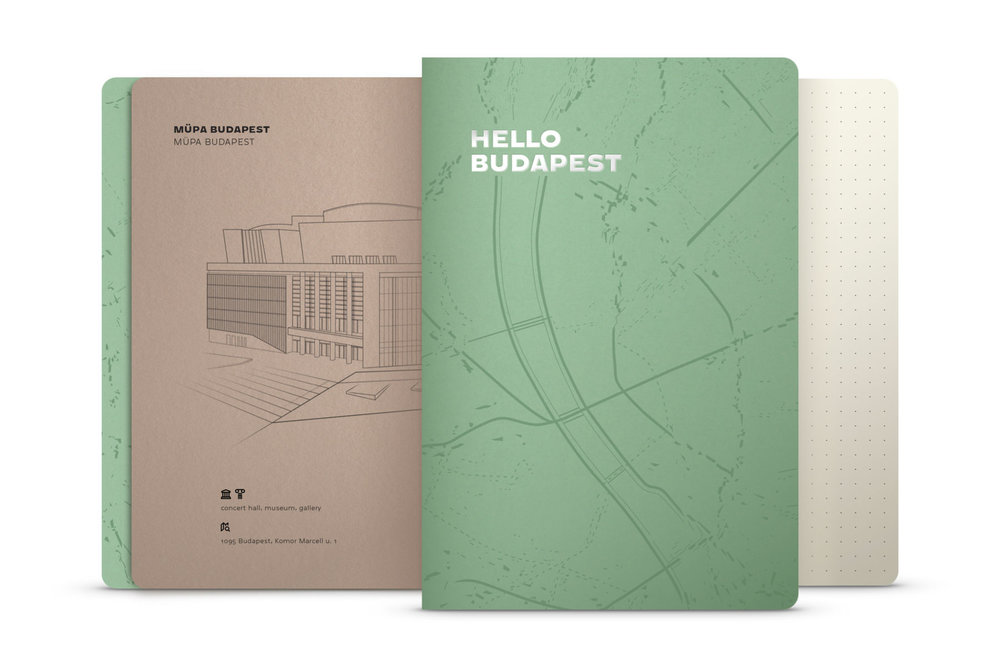 Hello Budapest eco-design notebook - Macha Tea Edition