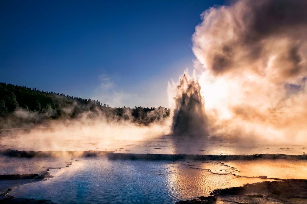 """Sunset Eruption"" Great Fountain Geyser, Yellowstone N.P."