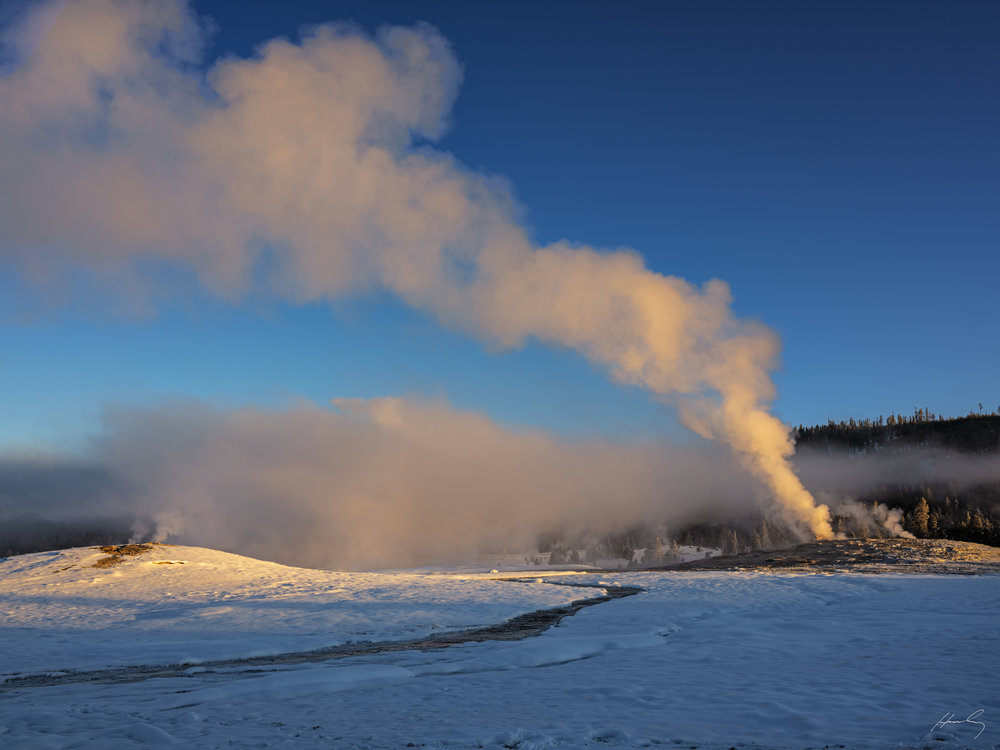 """Old Faithful at Dawn""  Yellowstone N.P, Wyoming"