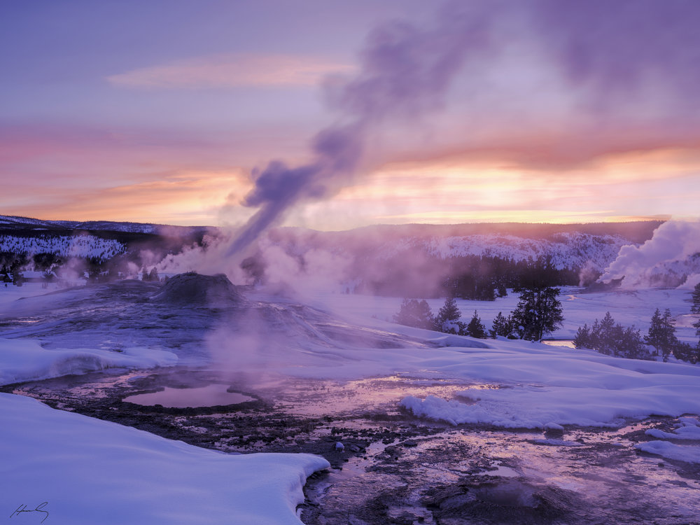 """Lion Geyser at Sunset""  Yellowstone N.P, Wyoming"