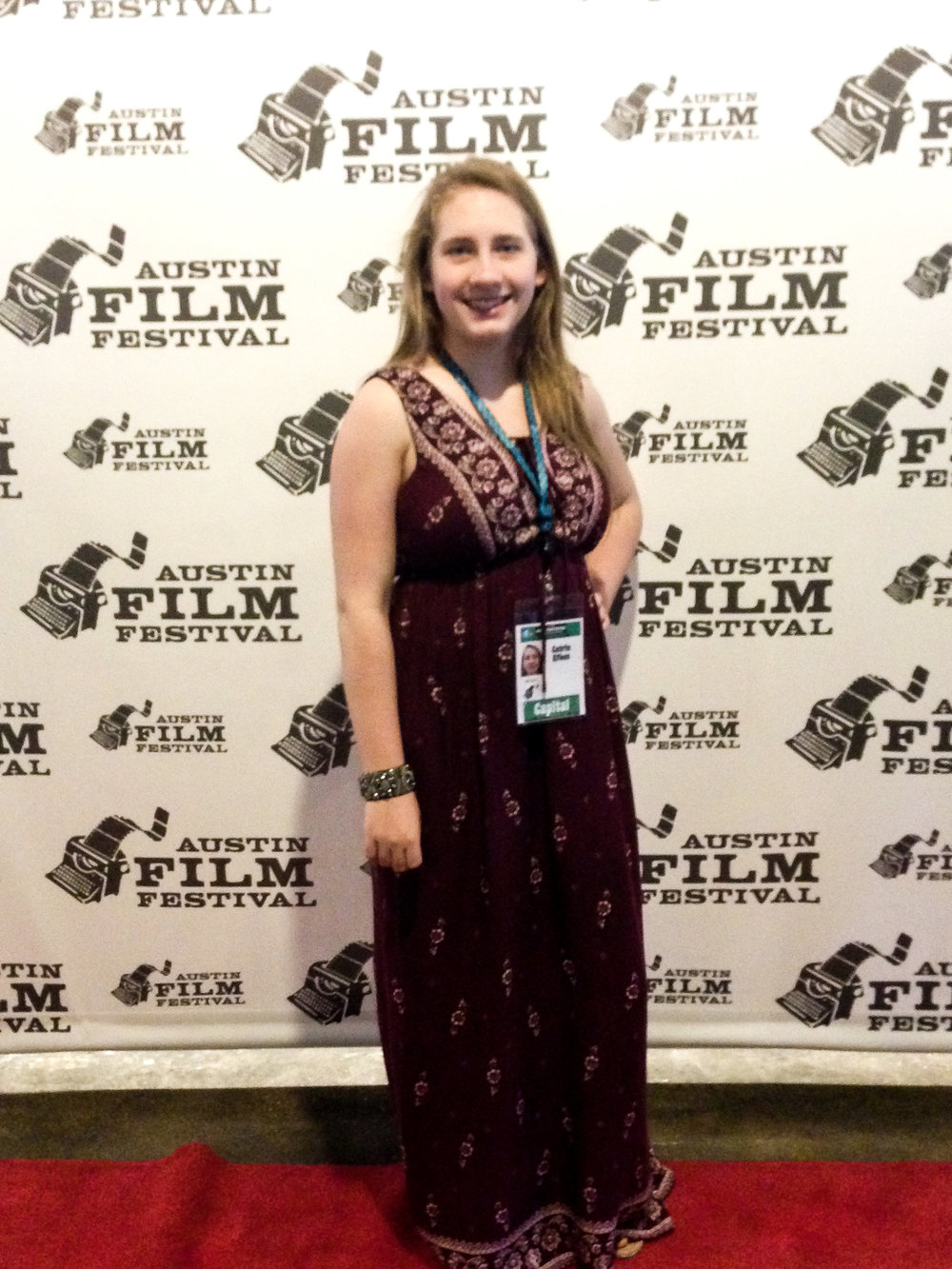 Catrin on the red carpet of Austin Film Festival for her film  Pin The Tail On The Donkey