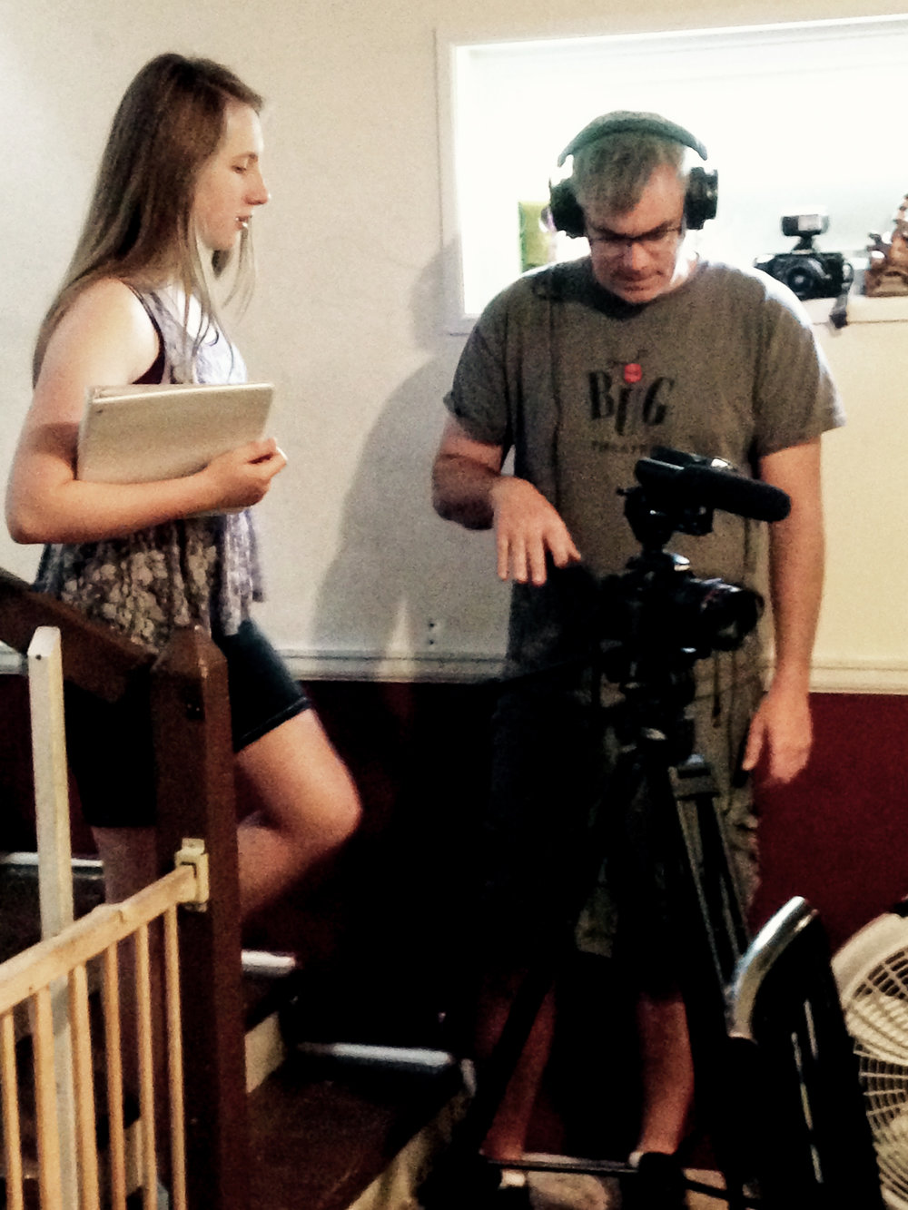 Catrin and her filmmaking instructor Patrick Sheridan on the set of  Pin The Tail On The Donkey