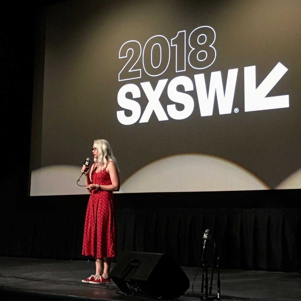 Carrie Cates presenting the Austin School of Film Official Showcase at SXSW 2018