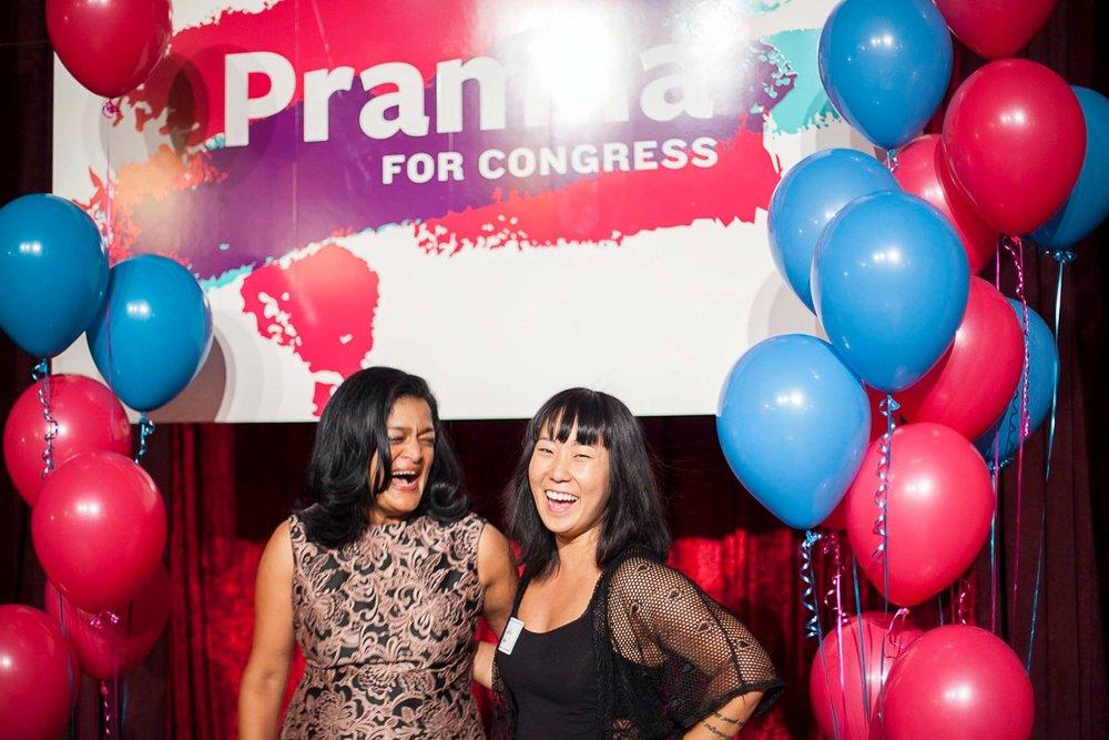 Congresswoman Pramila Jayapal's election night party - 2016 Communications Intern Jin-Ah Kim