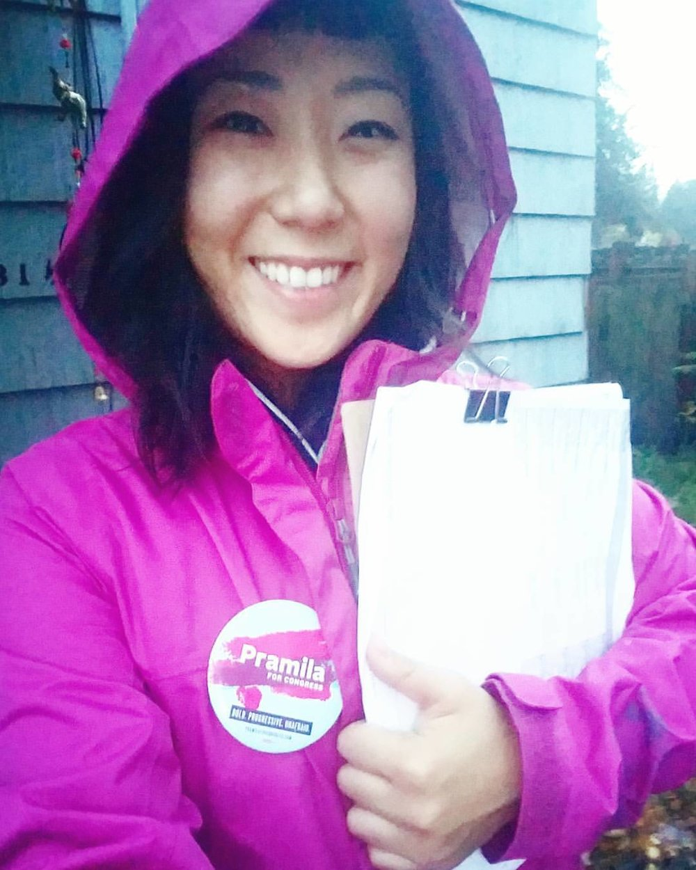 Rain or Shine! Canvassing door to door for Congresswoman Pramila Jayapal during her 2016 campaign.