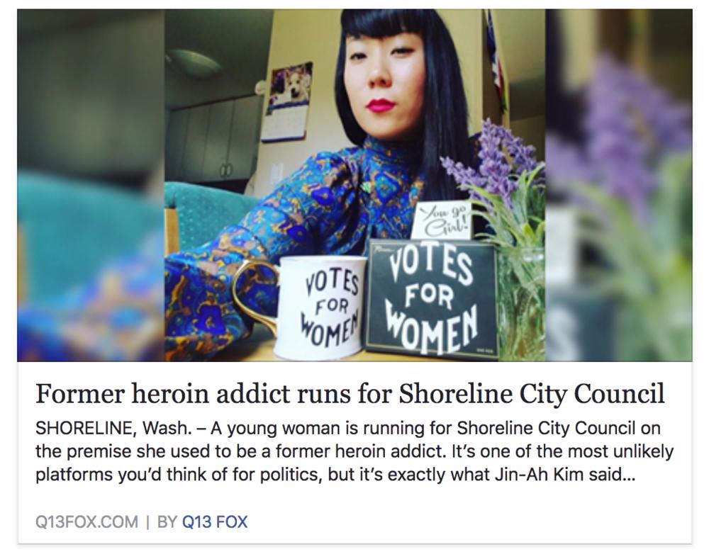Jin-Ah Kim Q13 Fox news, Former Heroin Addict Shoreline City Council