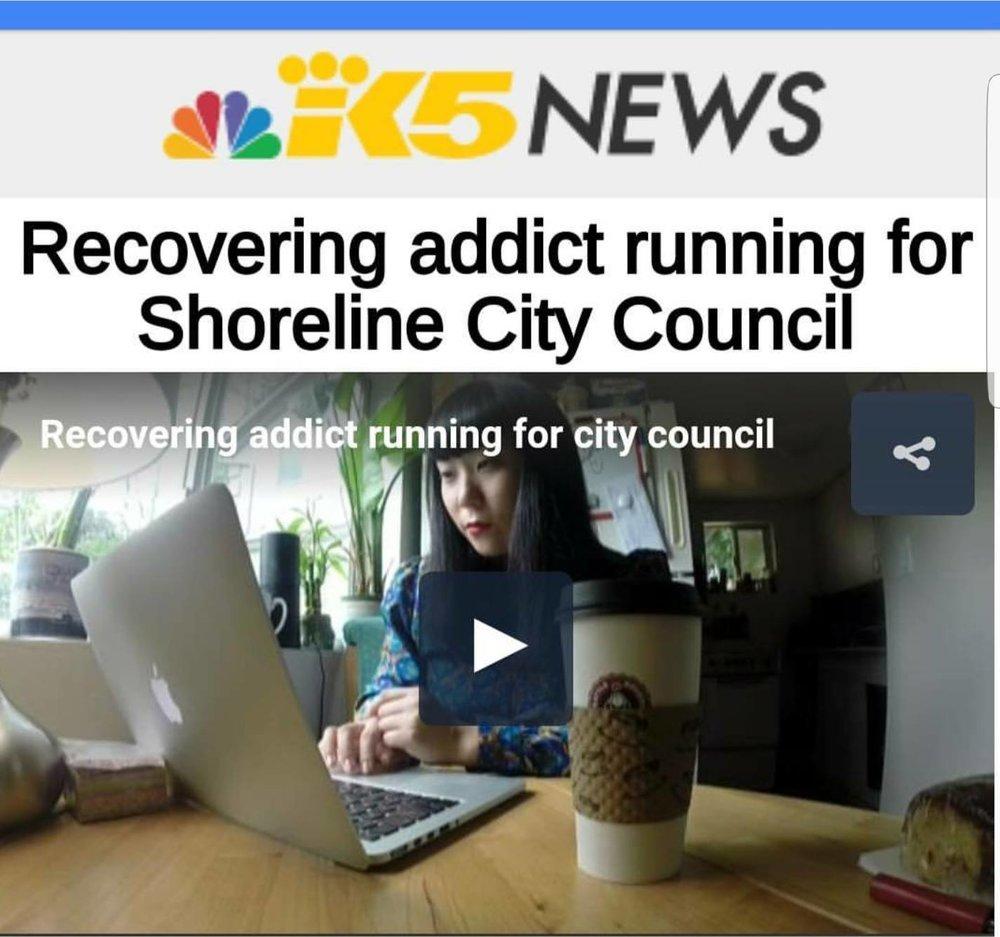 Jin-Ah Kim KING5 Recovering Addict Shoreline City Council
