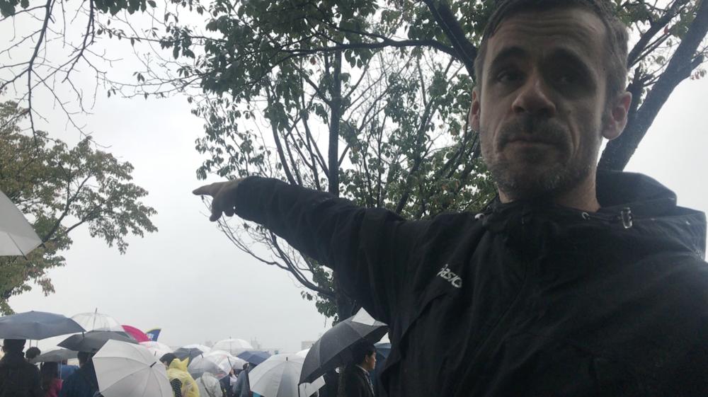 Here is Brett pointing to the start line of the 2018 Yosenkai start line