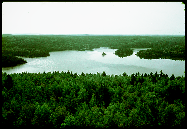 View of Lake Kawishiwi from a fire tower in the Boundary Waters Canoe Area,     on the way     to the                                                                Quetico Provincial Park, Ontario, Canada.