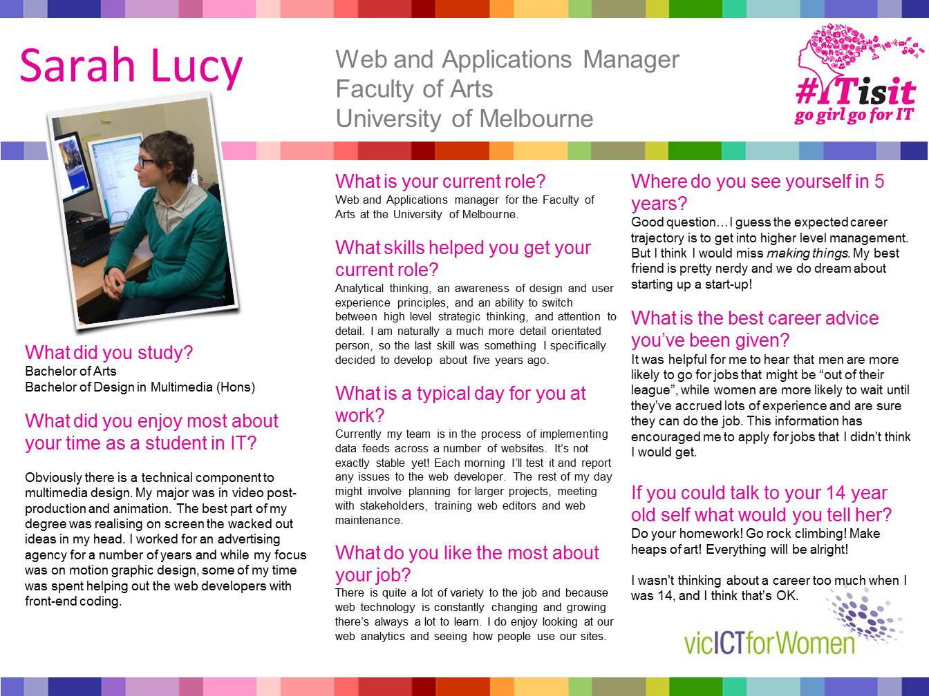 Sarah Lucy, Web & Applications Manager