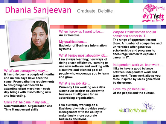 Dhania Sanjeevan -Women in IT interview slides template