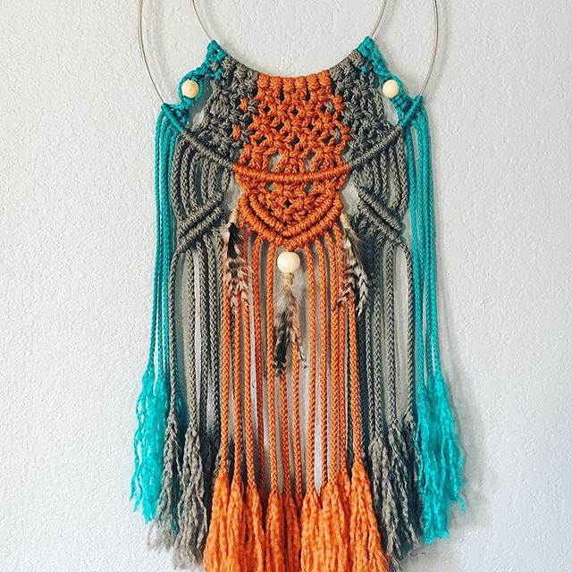 """Pictured: Custom Modern Dream Catcher made with Poly cord. 12"""" outer ring and 8"""" inner ring. $80"""